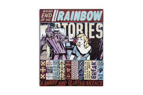 <p>Wrong End of the Rainbow Stories</p>  <p>Acrylic and Silkscreen Ink on Wood, Steel Frame. 20.25 x 24.25 x 2.5 Inches. (51 x 61 x 6 cm.)</p>