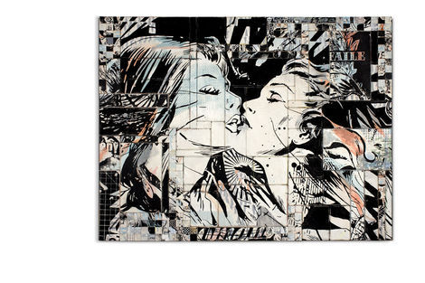 <p>Our Romance</p>  <p>Acrylic, Silkscreen Ink on Wood in Aluminum Frame. 61 ½ x 84 ½ Inches.</p>