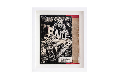 <p>Momento Mori BC:NYC Paper Collage, Silkscreen Ink on Book Cover, Framed 10.5 x 12.5 Inches (frame size) Original</p>