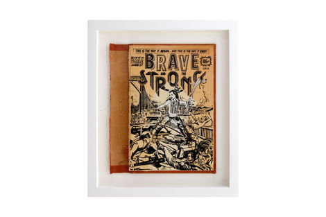 <p>Brave and the Strong BC:NYC Paper Collage, Silkscreen Ink on Book Cover, Framed 9.5 x 11 Inches (frame size) Original</p>
