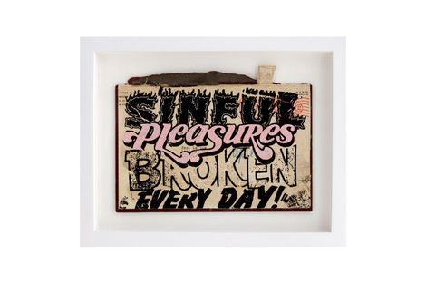 <p>Pleausres Broken BC:NYC Paper Collage, Silkscreen Ink on Book Cover, Framed 11.5 x 9 Inches (frame size) Original</p>