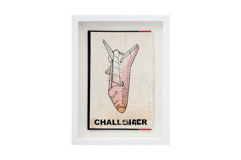 <p>Challenger BC:NYC Paper Collage, Silkscreen Ink on Book Cover, Framed 9.25 x 12.25 Inches (frame size) Original</p>