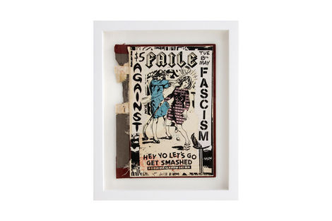 <p>Faile Against Facism BC:NYC Paper Collage, Silkscreen Ink on Book Cover, Framed 9.25 x 11.25 Inches (frame size) Original</p>