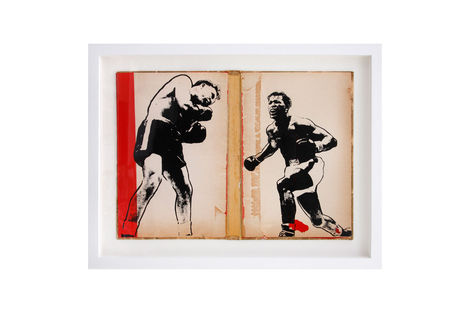 <p>Rampage BC:NYC Paper Collage, Silkscreen Ink on Book Cover, Framed 16.25 x 12.5 Inches (frame size) Original</p>