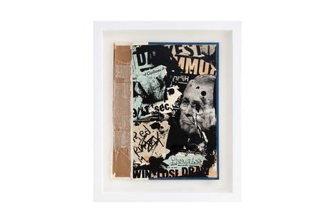 <p>Win Lose Draw BC:NYC Paper Collage, Silkscreen Ink on Book Cover, Framed 10 x 12.5 Inches (frame size) Original</p>