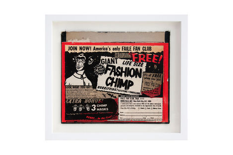 <p>Faile Fan Club BC:NYC Paper Collage, Silkscreen Ink on Book Cover, Framed 12.75 x 11.25 Inches (frame size) Original</p>