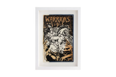 <p>Warriors of the Night BC:NYC Paper Collage, Silkscreen Ink on Book Cover, Framed 9 x 12.25 Inches (frame size) Original</p>