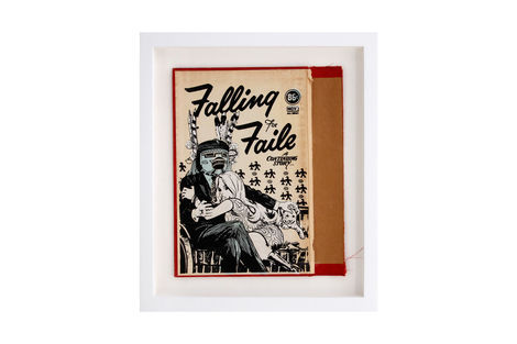 <p>Falling For Faile BC:NYC Paper Collage, Silkscreen Ink on Book Cover, Framed 10.5 x 12 Inches. (frame size) Original</p>