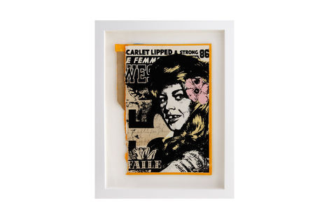 <p>Scarlet Lipped & Strong BC:NYC Paper Collage, Silkscreen Ink on Book Cover, Framed 8.75 x 11.5 Inches (frame size) Original</p>