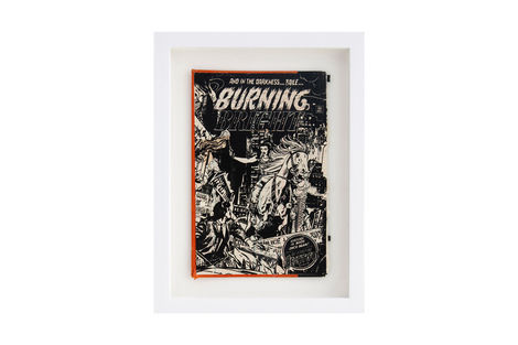 <p>Burning Bright BC:NYC Paper Collage, Silkscreen Ink on Book Cover, Framed 8.5 x 11.5 Inches (frame size) Original</p>