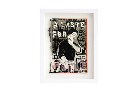 <p>A Taste For Faile BC:NYC Paper Collage, Silkscreen Ink on Book Cover, Framed 8,75 x 11.5 Inches (frame size) Original</p>