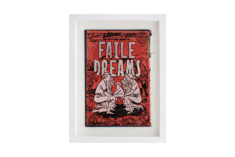 <p>Faile Dreams BC:NYC Paper Collage, Silkscreen Ink on Book Cover, Framed 9.5 x 12.5 Inches (frame size) Original</p>