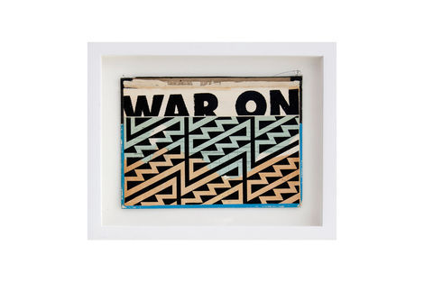 <p>War On Terror BC:NYC Paper Collage, Silkscreen Ink on Book Cover, Framed 11 x 9 Inches (frame size) Original</p>