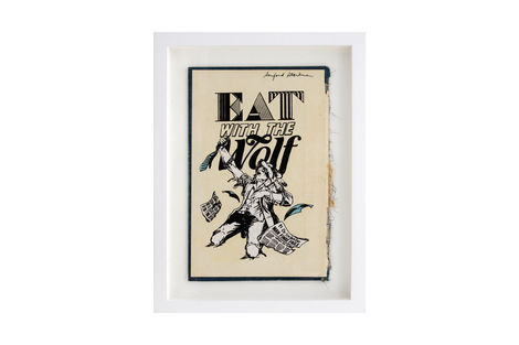 <p>Eat With The Wolf BC:NYC Paper Collage, Silkscreen Ink on Book Cover, Framed 9 x 12.25 Inches (frame size) Original</p>