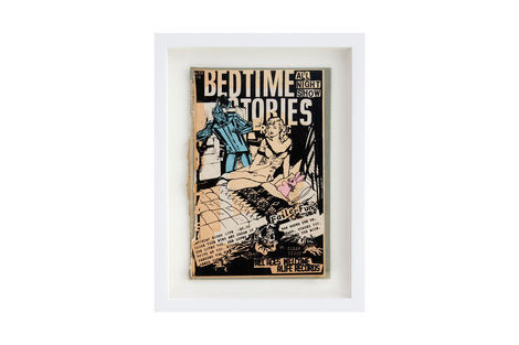 <p>Bedtime Stories BC:NYC Paper Collage, Silkscreen Ink on Book Cover, Framed 9.5 x 12.5 Inches (frame size) Original</p>
