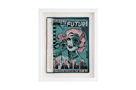 <p>Citizens of the Future BC:NYC Paper Collage, Silkscreen Ink on Book Cover, Framed 10 x 12 Inches (frame size) Original</p>