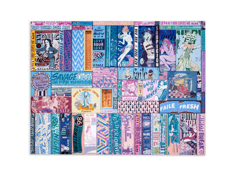 <p>888-Rendezvous<br/> 64.5 x 84.5 Inches<br/> Acrylic, Silkscreen Ink, Fabric and Copper on Wood in Steel Frame<br/> Faile 2012</p>