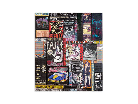 <p>Halley's Night Dream<br/> 48.5 x 56.5 Inches  Acylic, Silkscreen Ink and Copper on Wood in Steel Frame<br/> Faile 2012</p>