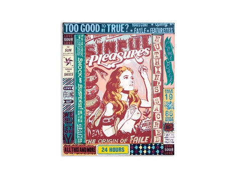 <p>Too Good To Be Sinful<br/> 20.25 x 24.25 Inches<br/> Acrylic, Silkscreen Ink on Wood, Steel Frame<br/> Faile 2012</p>