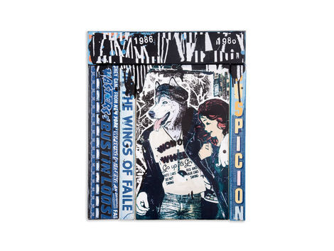 <p>Suspicion<br/> 20.25 x 24.25 Inches<br/> Acrylic, Silkscreen Ink on Wood, Steel Frame<br/> Faile 2012</p>
