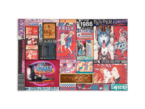 <p>LA Elegancia<br/> 43 x 65 Inches<br/> Acrylic, Silkscreen Ink, Fabric and Copper on Wood in Steel Frame<br/> Faile 2012</p>