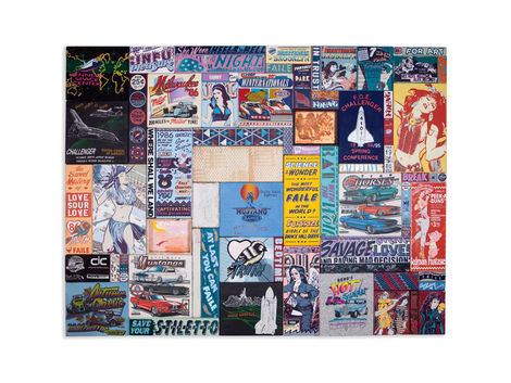 <p>Kennedy's Hot Summer<br/> 64.5 x 84.5 Inches<br/> Acrylic, Silkscreen Ink, Fabric and Copper on Wood in Steel Frame<br/> Faile 2012</p>