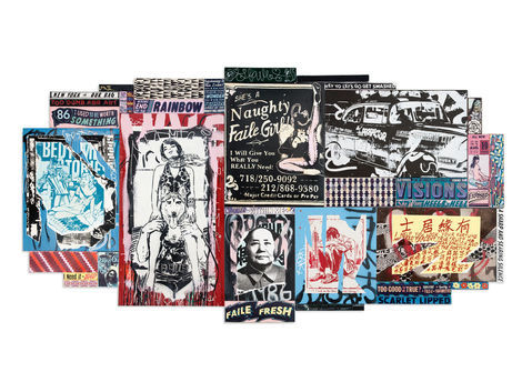 <p>Fortune<br/> 137in x 70in<br/> Acrylic, Spraypaint and Silkscreen Ink on Wood Faile 2012</p>