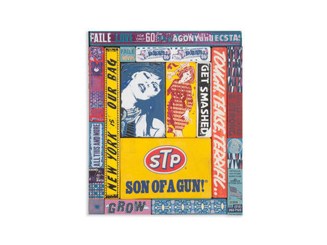 <p>Son Of A Gun!<br/> 20.25 x 24.25 Inches.<br/> Acrylic, Silkscreen Ink, Fabric on Wood, Steel Frame<br/> Faile, 2012</p>