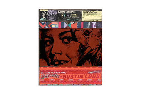 <p>Faile Fan Club Bustin' Loose<br/> Acrylic, Fabric and Silkscreen Ink on Wood, Steel Frame. 20.25 x 24.25 x 2.5 Inches. (51 x 61 x 6 cm.)</p>