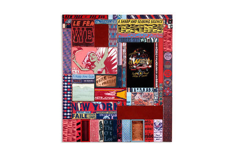 <p>Scarlett Lipped & Faile Fresh<br/> Acrylic, Silkscreen Ink, Fabric, Copper Plate on Wood, Steel Frame. 48.25 x 56.5 x 2.5 Inches. (122 x 143 x 6 cm.)</p>