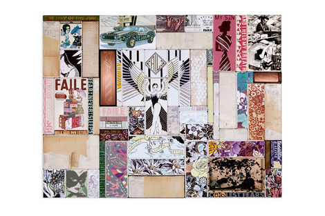 <p>Tired of the Artificial Flowers Acrylic, Silkscreen Ink and Fabric on Wood, Steel Frame Dimensions: 64in x 84in x 3in Signed, Faile 2013</p>