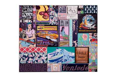 <p>Memphis Courage Acrylic, Silkscreen Ink, Copper and Fabric on Wood, Steel Frame Dimensions: 49in x 57in x 3in Signed, Faile 2013</p>