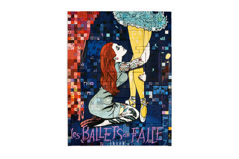 <p>les BALLETS de FAILE Dream Club Acrylic and Silkscreen Ink on Wood, Steel Frame Dimensions: 84in x 64in x 3in Signed, Faile 2013</p>