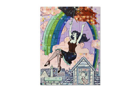 <p>Under the Rainbow Acrylic and Silkscreen Ink on Wood, Steel Frame<br/> Dimensions: 65in x 85in x 3in<br/> Signed, Faile 2013</p>