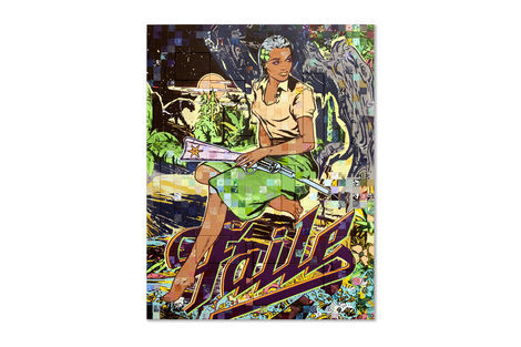 <p>The Called Acrylic and Silkscreen Ink on Wood, Steel Frame<br/> Dimensions: 65in x 85in x 3in<br/> Signed, Faile 2013</p>