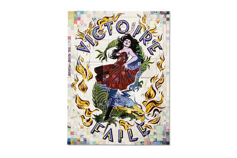 <p>Victoire Faile Acrylic and Silkscreen Ink on Wood, Steel Frame<br/> Dimensions: 65in x 85in x 3in<br/> Signed, Faile 2013</p>