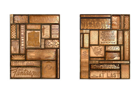 <p>Fantasque, Desafiador<br/> Copper and Wood in Steel Frame<br/> 32 x 42 x 3 Inches</p>  <p>Faile Joaillier, Under Western Skies<br/> Copper and Wood in Steel Frame<br/> 32 x 42 x 3 Inches</p>
